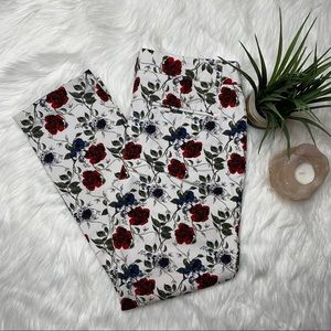DALIA FLORAL ANKLE CROPPED CAREER PANTS